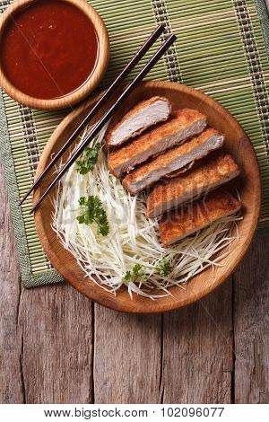 Tonkatsu Japanese Breaded Deep Fried Pork With Cabbage Vertical Top View
