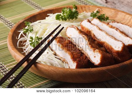 Fried Pork Tenderloin Breaded Tonkatsu With Cabbage Closeup. Horizontal