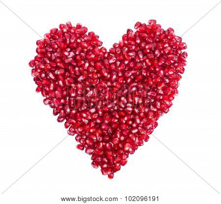 garnet, grains, pomegranate seeds in the form of heart.