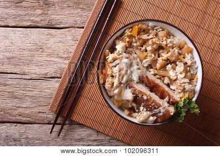 Katsudon Fried Pork Tonkatsu With Egg And Rice. Horizontal Top View