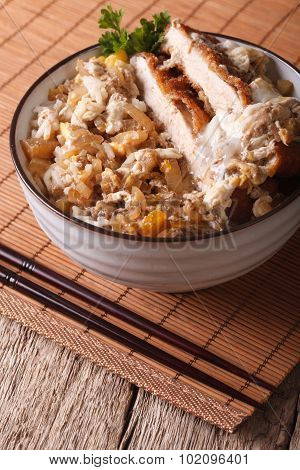 Japanese Food Katsudon Breaded Deep Fried Pork On Rice. Vertical