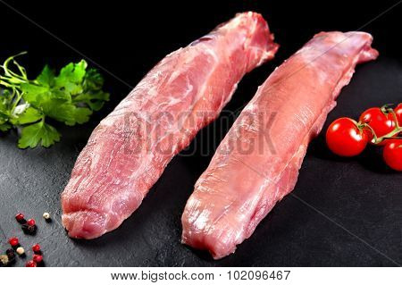 Fresh and raw meat. Still sirloin. Grilled meat or grilled