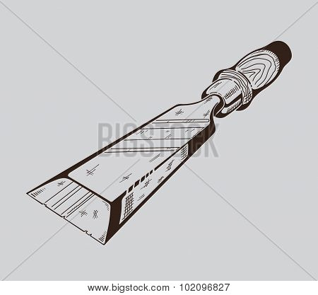 It is monochrome vector illustration of hacksaw.