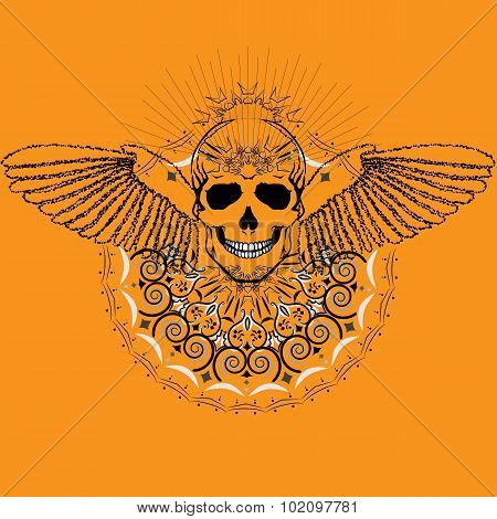 Vector Image Of Human Skull With Wings In Abstract Art Style, Done In A Slightly Psychedelic Manner