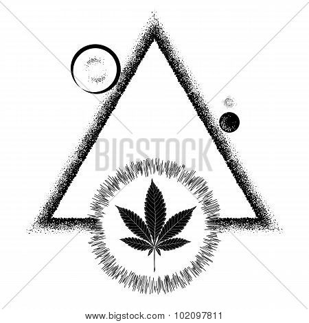 Black Marijuana Leaf And The Sun