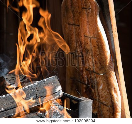Fresh Healthy Salmon Fish Cooked On  Barbecue