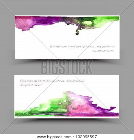 Banner watercolor violet green