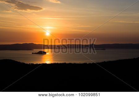 Lake Bolsena Sunset Aerial View (lazio - Viterbo Italy)