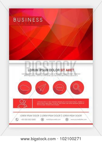 Creative abstract flyer, template or banner design in red and white colors for business.