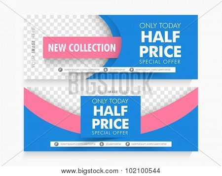 Half Price Sale with Special Offer, Creative website Header or banner set with space for your image.