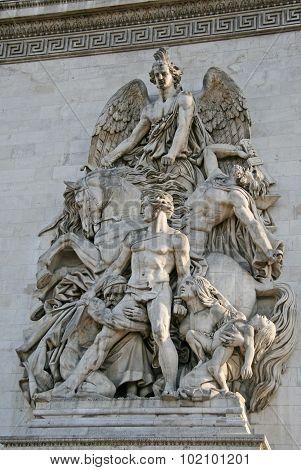 Architectural Detail Of The Arc De Triomphe De L'etoile, Paris, France