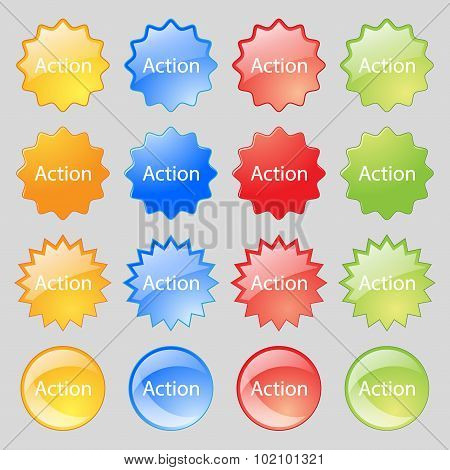 Action Sign Icon. Motivation Button With Arrow. Big Set Of 16 Colorful Modern Buttons For Your Desig