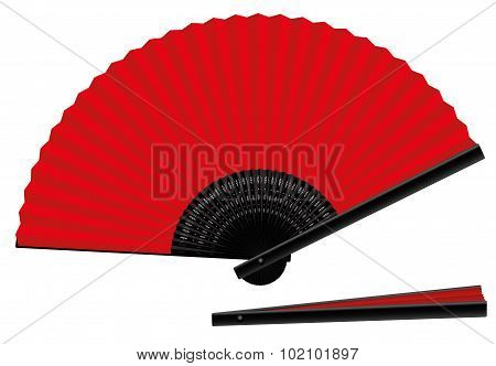Hand Fan Open Closed Red Black