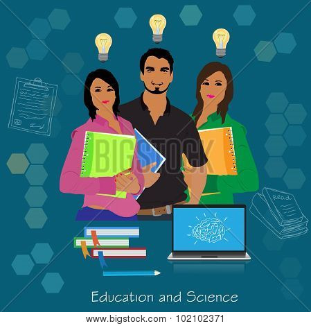 Science and education concept, college students, vector illustration in flat design for web sites