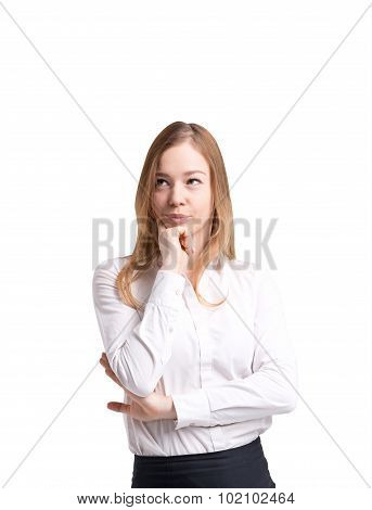 Beautiful Lady In Formal Clothes Pondering On Future Business Or Career Perspectives. White Shirt An
