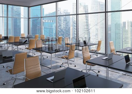 Workplaces In A Modern Corner Panoramic Office, Singapore Business City View. Open Space. Black Tabl