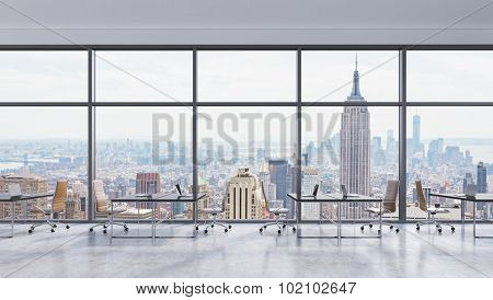 Workplaces In A Modern Panoramic Office, New York City View In The Windows, Manhattan. Open Space. B
