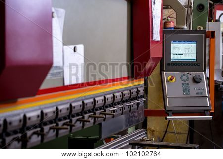 Manufacturing workshop. Image of bending machine