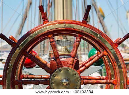 Wooden lacquer steering wheel of the sailboat