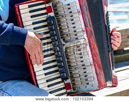 Bayan player is playing on the vintage accordion