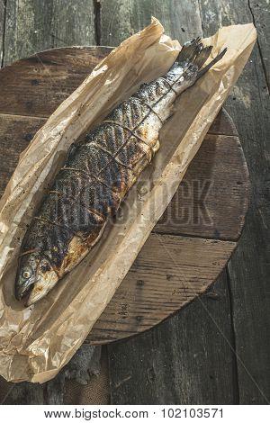 Roasted Salmon Fish Fish On Baking Paper