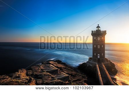Kermorvan Lighthouse before sunset, Brittany, France
