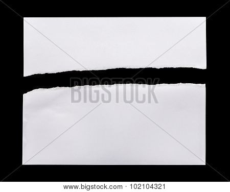 Ripped White Paper Isolated On Black Background