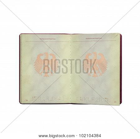 German Passport Isolated On White Background