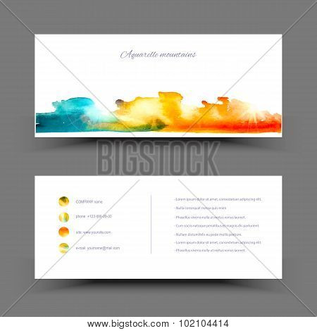 Banner watercolor blue yellow