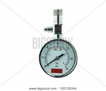 Silver Tyre Pressure Gauge Isolated On White Background