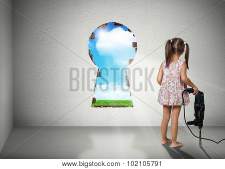 Child Girl Break Wall Shape Of Keyhole, Cognition Creative Concept
