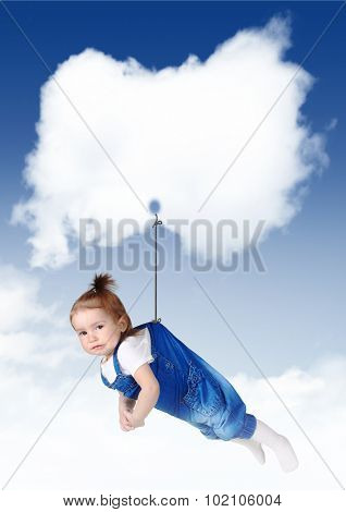 Sad Baby Girl Flying On A Cloud With Copy Space
