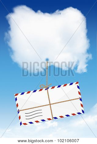 Air Mail Concept, Envelope Fly On Cloud With Copy Space