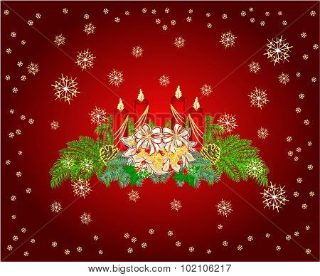Advent Wreath With White Poinsettia Vector