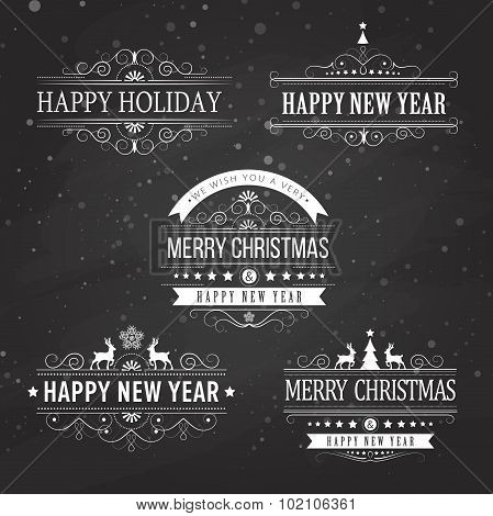Christmas decoration collection of calligraphic and typographic elements on black