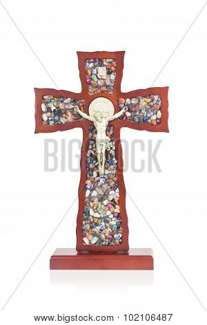 Decorative Wooden Catholic Christian Crucifix With Isolated White Background.