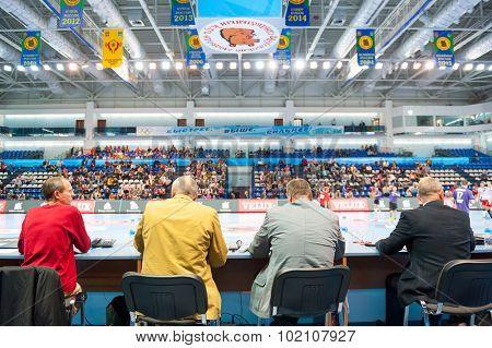 CHEKHOV, RUSSIA - SEPTEMBER 17: Judges on handball match on September 17, 2015 in Chekhov, Russia. Champions League.