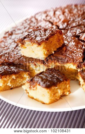 Homemade Cake With Chocolate Glaze