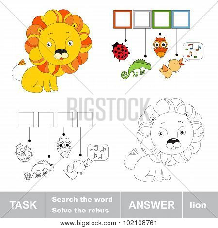 Toy lion. What is the word hidden. Task and answer.