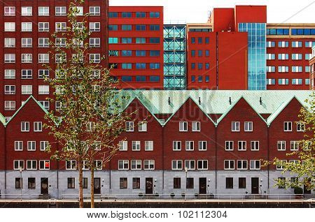 Modern red houses in Rotterdam, Netherlands