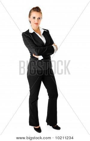 full length  portrait business woman with crossed arms on chest