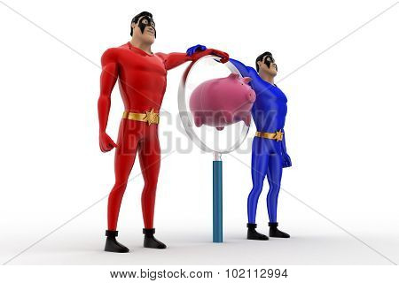3D Two Superheros With Magnifying Glass And Piggybank Concept