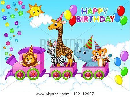 Birthday card with animal on train