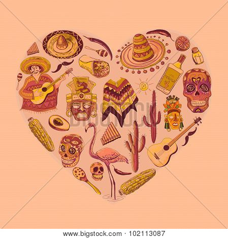 Mexico love - heart with set