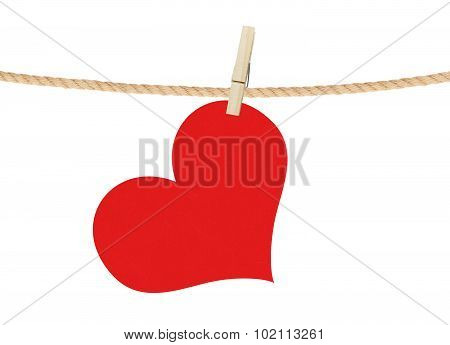 Red Heart Hang On Clothespin Isolated On White Background