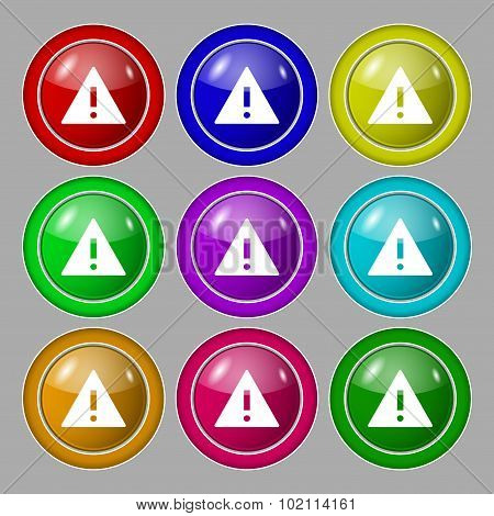 Attention Sign Icon. Exclamation Mark. Hazard Warning Symbol. Symbol On Nine Round Colourful Buttons
