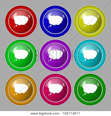 Cloud Sign Icon. Data Storage Symbol. Symbol On Nine Round Colourful Buttons. Vector