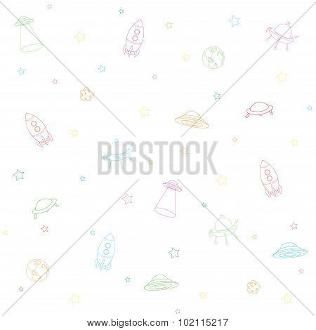 Seamless Texture With Space Rocket, Ufo, Earth And Moon. Colorful Background Isolated On White