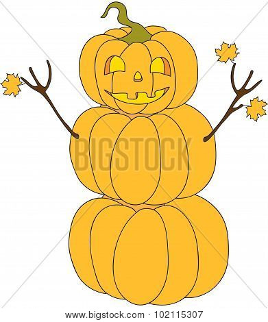 Halloween Pumpkin Snowman Cartoon Character
