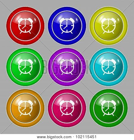 Alarm Clock Sign Icon. Wake Up Alarm Symbol. Symbol On Nine Round Colourful Buttons. Vector